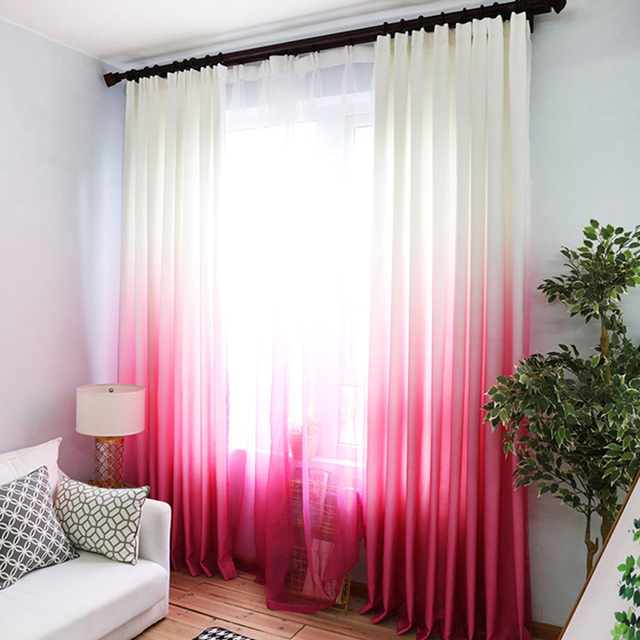 Pink Purple Curtains For The Living Room Green Gradient Semi Blackout Cloth  Drapes For The