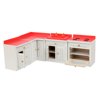 1/12 Dollhouse Miniature Furniture Kitchen Wooden Combination Cabinet Set Dollhouse Accessories Kids Pretend Play Toy