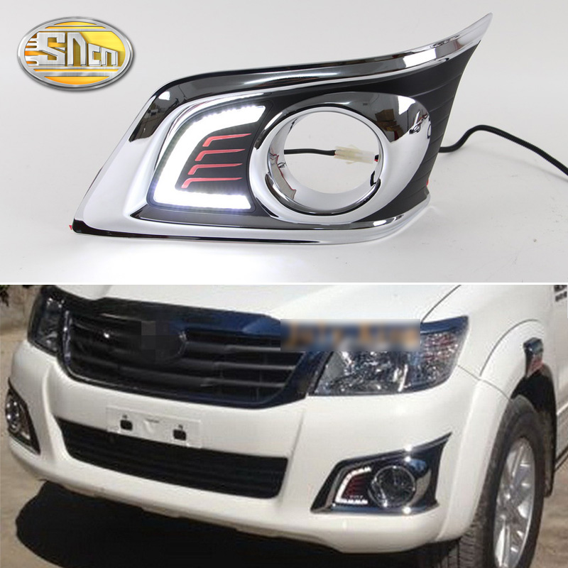 цена на For Toyota Hilux Vigo 2012 2013 2014 Super Brightness Waterproof ABS 12V Car DRL Lamp LED Daytime Running Light Daylight SNCN