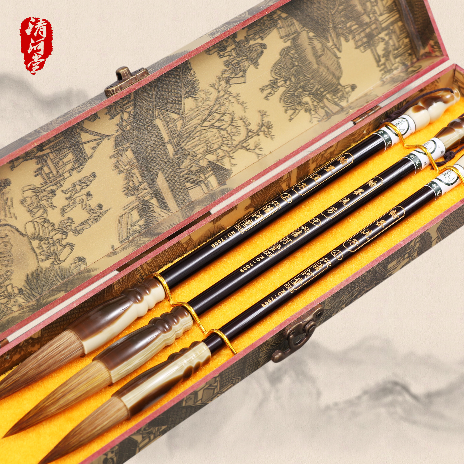 Four treasures of the study of painting brush set calligraphy liufang wood paint brush LangHao suit the art treasures from mosсow museums