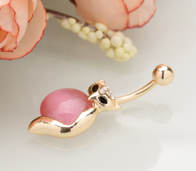 Pink Cute Fox Belly Button Ring
