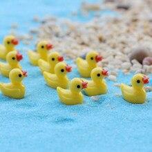 6/10 unids/set Mini bonito pequeño pato amarillo artesanía de resina para decoración de plantas para el hogar casa de muñecas en miniatura adornos de jardín de hadas