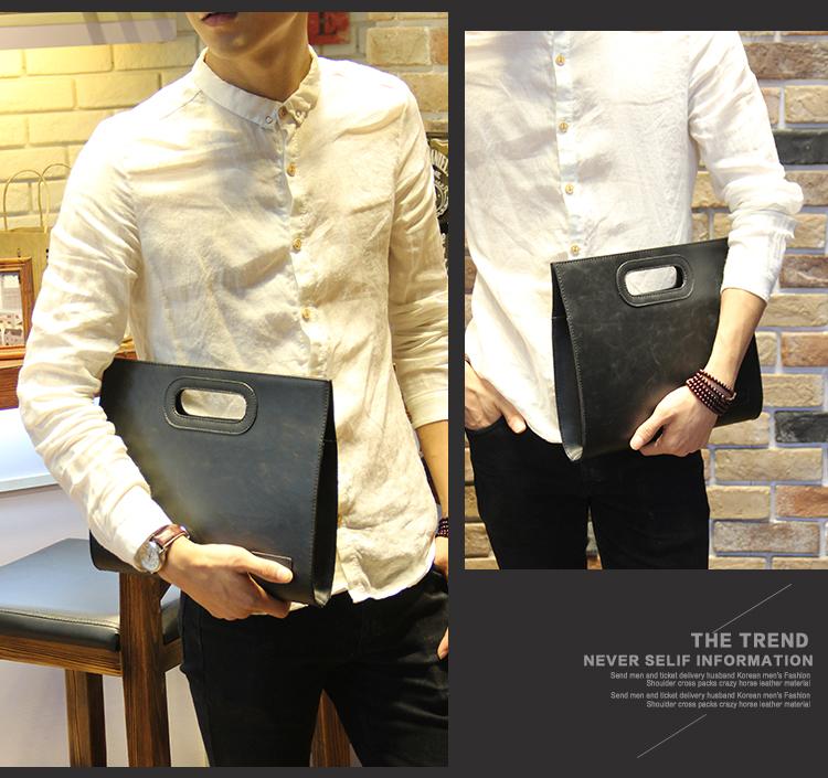 Business Casual Men Leather Designer Handbag High Quality Male Wallet Famous Brand Men's Large Capacity Clutch Bag Brown black 69