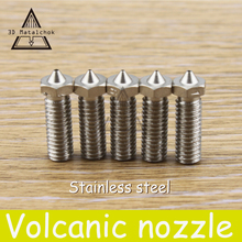 4 PCS All metal Stainless steel Volcano Nozzle 0.4mm/0.6mm/0.8mm/1.0mm/1.75mm 3mm Lengthen Crater hotend For 3D Printer PLA/ABS