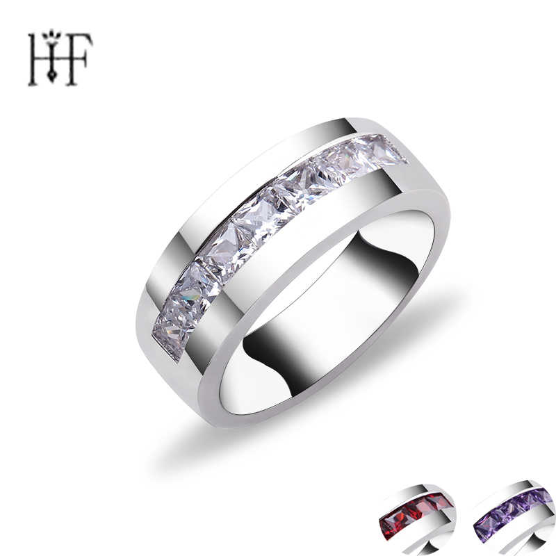 Circular Finger Ring for Female with AAA Red Purple Cubic Zircon jewellery dropshipping anel anillos aneis bagues femme Gift