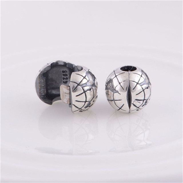 Pure 925 Sterling Silver Jewelry Globo Motivo Della Clip Stopper Bead Fit Bracciale Charms FAI DA TE Gioielli KT076-N