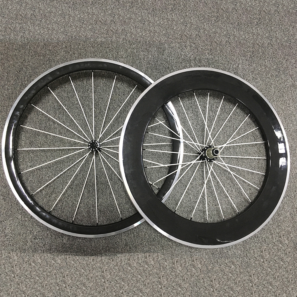 Full Carbon Wheels Alloy Brake Clincher Bike Wheels 38/50/60/80mm Bicycle Road Wheel R13 Road Hub Cycling Wheel 700C 23mm Width csc 700c single front or rear wheel 23mm wide 24 38 50 60 88mm depth r13 hub clincher tubular carbon road bike wheels