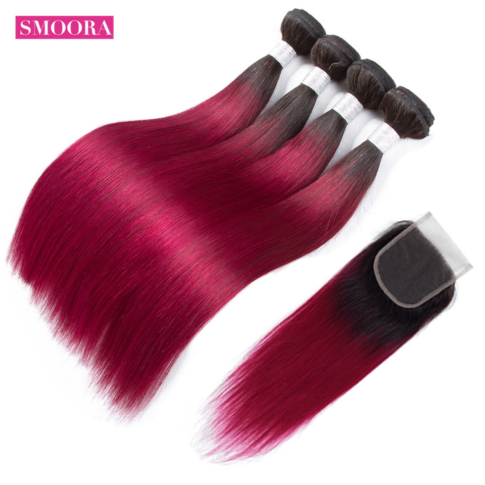 Ombre Dark Roots Blonde Brazilian Straight 4 Bundle Human Hair with Baby Hair Closure 2 Tone