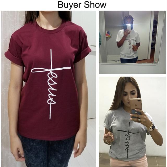 Short Sleeve Jesus T-shirt Christian Cross Printing Tops   online brands