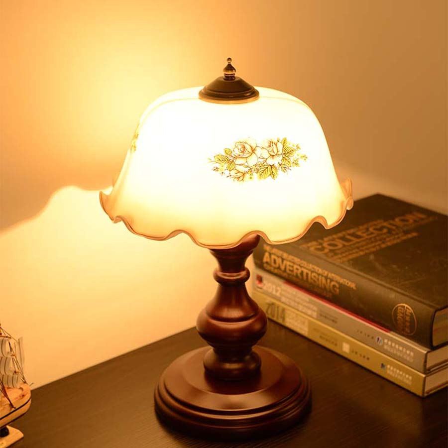 3W led bulb table lamp with color drawing camellia lamp shade and ...
