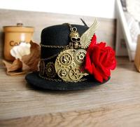 Steampunk Gear Skull Wing Mini Top Hat Retro Gothic Lolita Fedoras Hats With Flower Handmade Goth