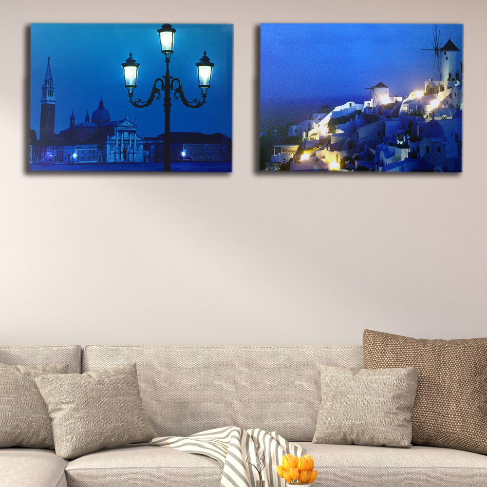 Led Canvas painting Venice street lamp dock with Santorini night wall picture illuminated canvas print light up wall art decor