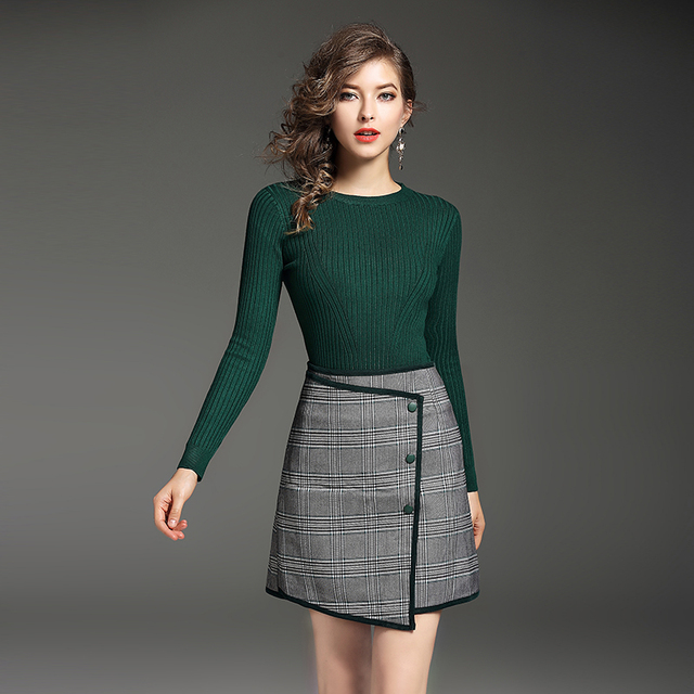 80efa0b26df New winter women pullover green sweater   Irregular plaid skirt european  fashion design knitwear suits size S M L Lady outfit