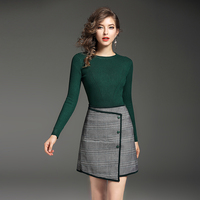 New Winter Women Pullover Green Sweater Irregular Plaid Skirt European Fashion Design Knitwear Suits Size S