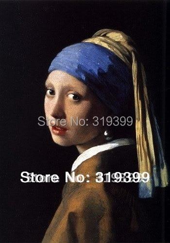 Reproduksjon av oljemaling på linduk, Jente med perleørering av Johannes Vermeer, gratis frakt, 100% håndlaget, museum