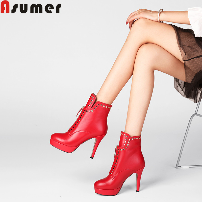 ASUMER big size fashion ankle boots for women round toe zip genuine leather boots high heels