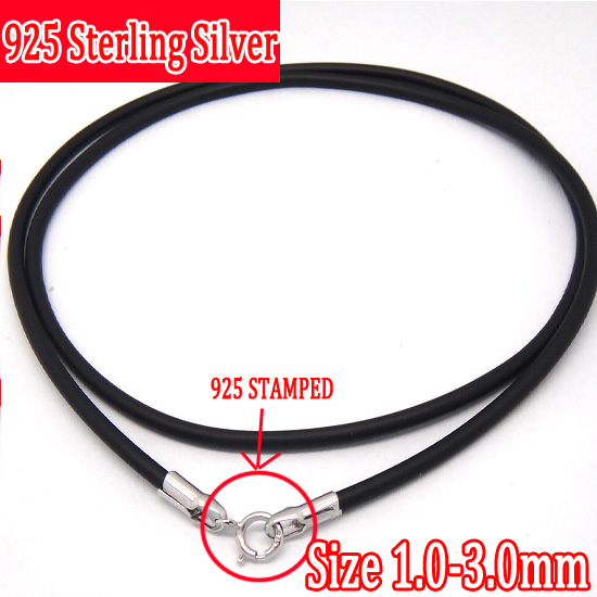2pcs 925 Sterling Silver 45cm 1.5mm DIY Necklace Chain Black Flexible Rubber Rope Jewelry Accessories