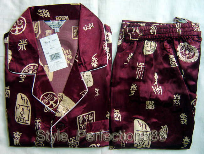 Free Shipping ! Burgundy Men's Polyester Satin Robe Pajama Sets Sleepwear Nightwear SIZE S M L XL XXL XXXL ZT-4