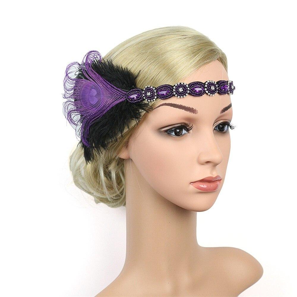 Vintage Headpiece Feather Flapper Headband Women Headband Retro Headdress Gatsby Hair Accessories Tiara de cabelo de mulher A8 headpiece