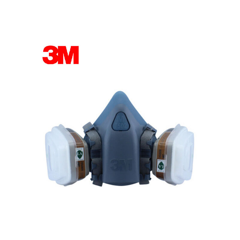 3M 7502+6005 Half Facepiece Reusable Respirator Mask Formaldehyde/Organic Vapor Cartridge 7 Items for 1 Set LT042 7502 of reusable respirator mask gas mask portable respirator protective fire masks