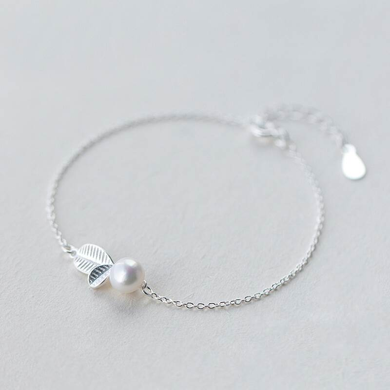 ANENJERY 925 Sterling Silver Jewelry Sets Bud Leaf Simulated Pearl Necklace Earrings Bracelet For Women Korean