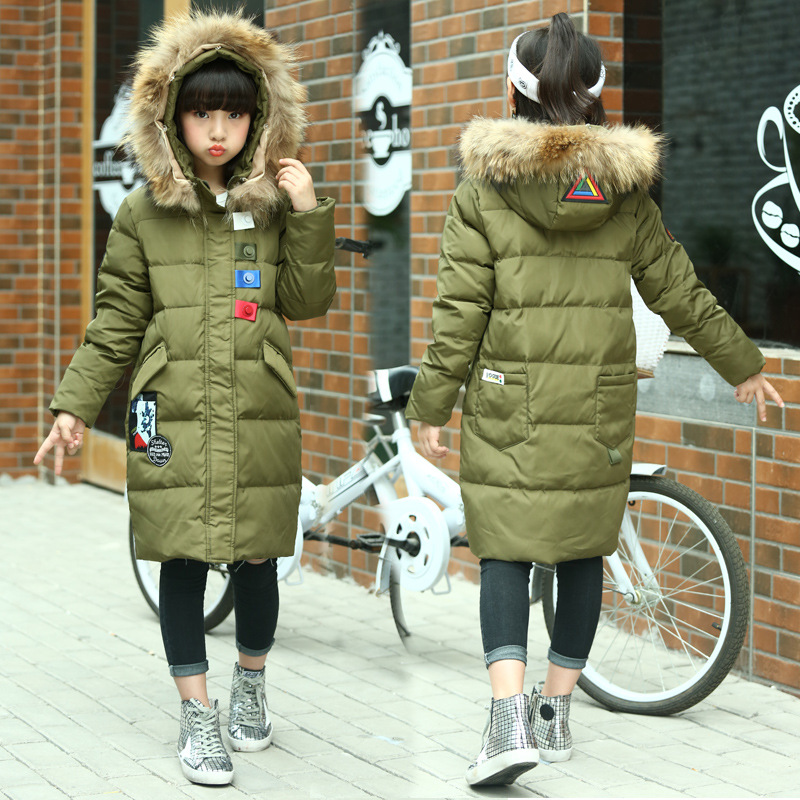Winter Warm Kids Down Jackets for Baby Girls Fashion Down Coat Hooded Jacket Outerwear Thicken Natural Fur Collar Overcoat envsoll winter warm baby kids girls