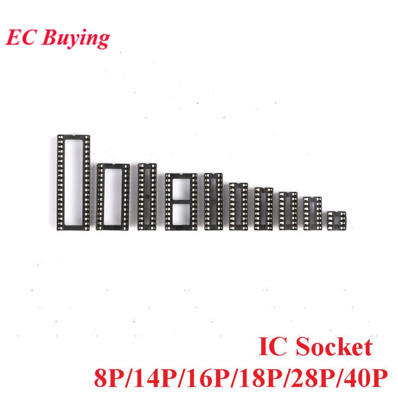 10PCS SMD IC Socket Connector DIP8 DIP14 DIP16 DIP18 DIP20 DIP28 DIP40 Connectors DIP Socket 8P 14P 16P 18P 20P 28P 40P Pin