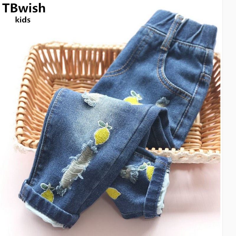 2017 New Trousers Jeans Girls Pants Fashion Girl Long Pant Kids Jeans Girls Trousers Children Denim