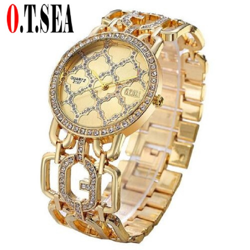 Luxury O.T.SEA Brand Rose Gold Bracelet Watches Women Ladies Crystal Dress Quartz Wristwatches Relogio Feminino 2157 2016 luxury brand ladies quartz fashion new geneva watches women dress wristwatches rose gold bracelet watch free shipping