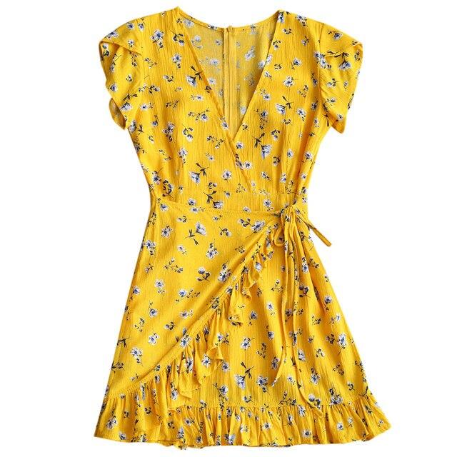 40df9cf4bb51 Wipalo Women Low Cut Mini Dress Deep V-Neck Short Sleeves Ruffle Bowknot  Floral Print A-Line Dresses Casual Summer Dress Vestido