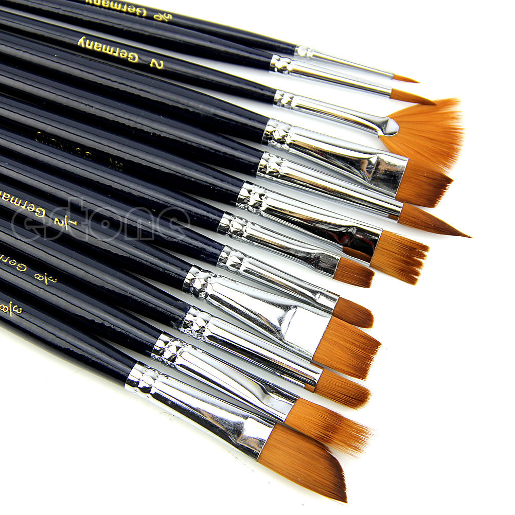 12Pcs Nylon Hair Paint Brush Set Artist Watercolor Acrylic Oil Painting Supplies