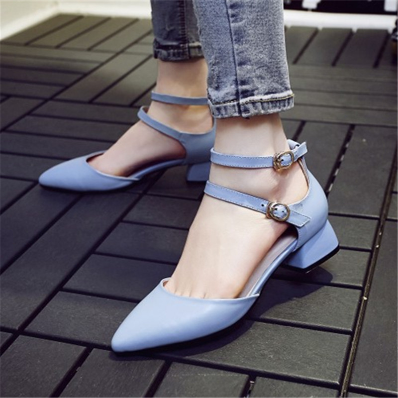 Plus Size 34-43 Fashion Genuine Leather sandals Summer women Buckle Strap Casual Med Square heel Pointed Toe shoes Free shipping xiaying smile summer woman sandals fashion women pumps square cover heel buckle strap fashion casual concise student women shoes