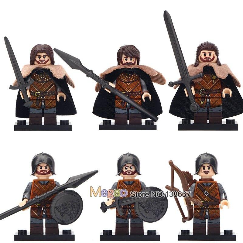 1Set of Game of Thrones ly Action Eddard Stark Spear Infantry Building Blocks Bricks Toys for Children XP042-047