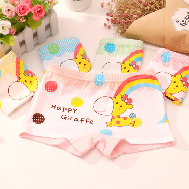 4Pcs/Lot Girls Underwear Children's Cotton Boxers Kids  Shorts Panites  Baby Girl Clothes for 2-10 years 1