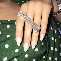Lujo KO diseño 925 plata esterlina borla dedo anillo hueco mujeres elegante sol borla de estrellas joyería de boda joyería fina