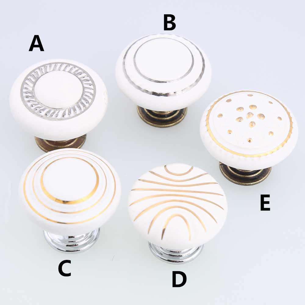 golde silver white ceramic drawer cabinet knobs pulls bronze silver dresser door handles vintage style furniture decoration knob