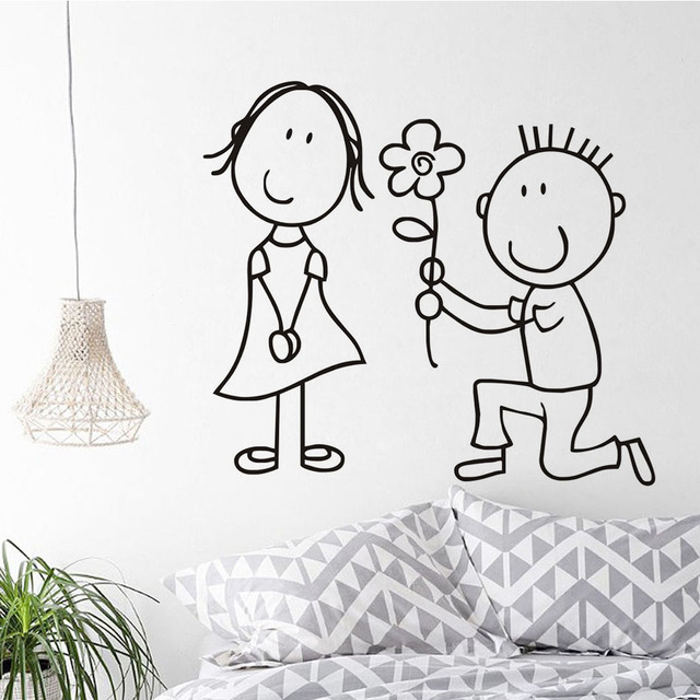Limited Special Offer The Boy Give The Flower To The Girl Wall