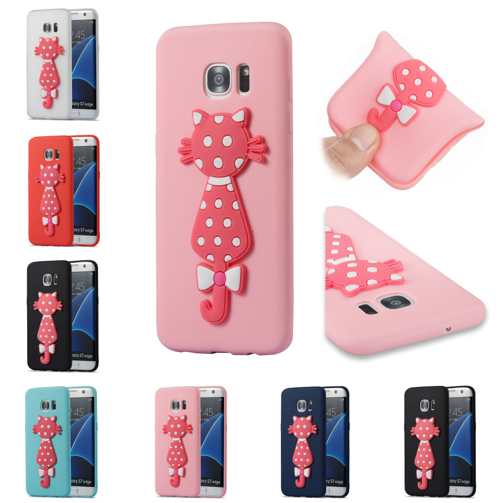 For Sumsung Samsung Samsug Galaxy Galax S7 Edge SM G935F Silicon Cartoon TPU 3D Cat Cover Cubierta Kryty Shell Bag Phone Case