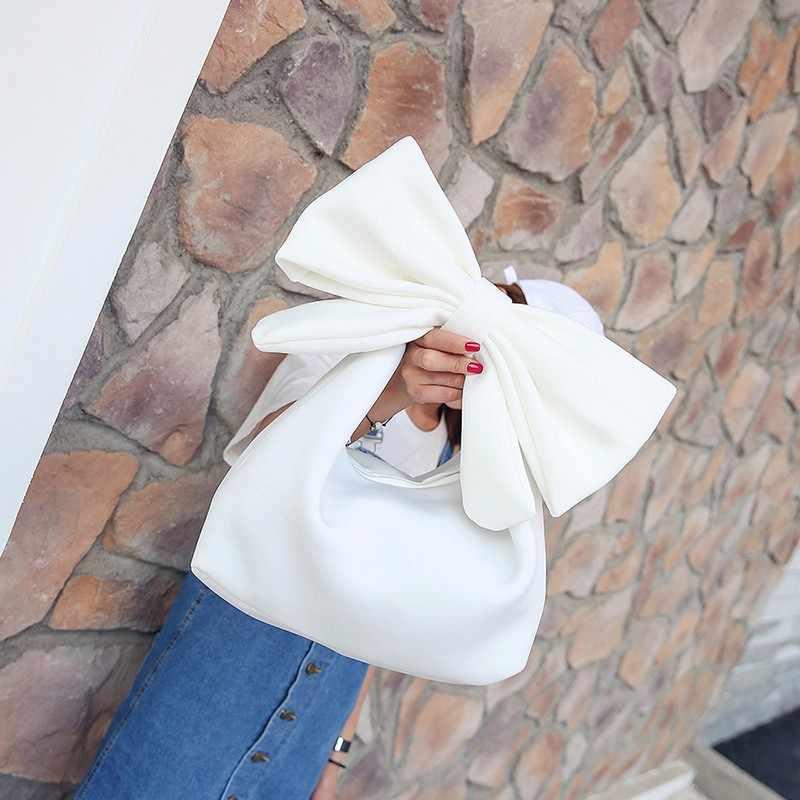 Bolsa da senhora Embreagem Ombro Bonito Arco Sólido Nylon Encantador Grande Arco Saco de Ombro Das Mulheres Bonito Arco