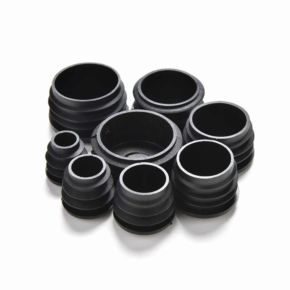 ใหม่ 10pcs พลาสติกสีดำขาเฟอร์นิเจอร์ปลั๊กฝาปิดท้ายหมวกใส่ปลั๊ก Bung สำหรับรอบท่อ 8 ขนาด