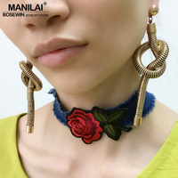 MANILAI Steampunk Knot Snake Chain Long Earrings Vintage Metal Boho Dangle Earrings For Women 2017 Statement