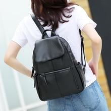 Black PU Leather Backpack Ladies Soft Women Bag Ladies 2016 Mochila Feminina Shoulder Backpacks For Teenage