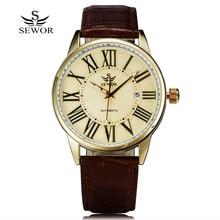 2016 New Fashion Sewor Brand Design Business Calendar Clock Men Male Automatic Mechanical Self Wind Leather Wrist Dress Watch