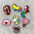 X191 Novo Gato Dos Desenhos Animados Bonito Unicórnio Animal de Balão de ar Quente Envelo Broche de Metal Pinos Botão Pinos de Moda de Jóias Por Atacado
