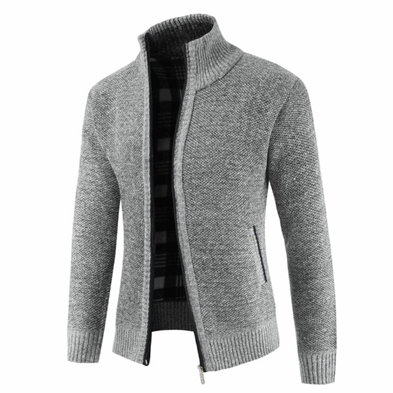M-3XL Autumn Winter Zipper Knitted Sweater Man Long Sleeve Stand Collar Jacket Sweater Male 2018 Cardigan Plus Size Coat Outwear