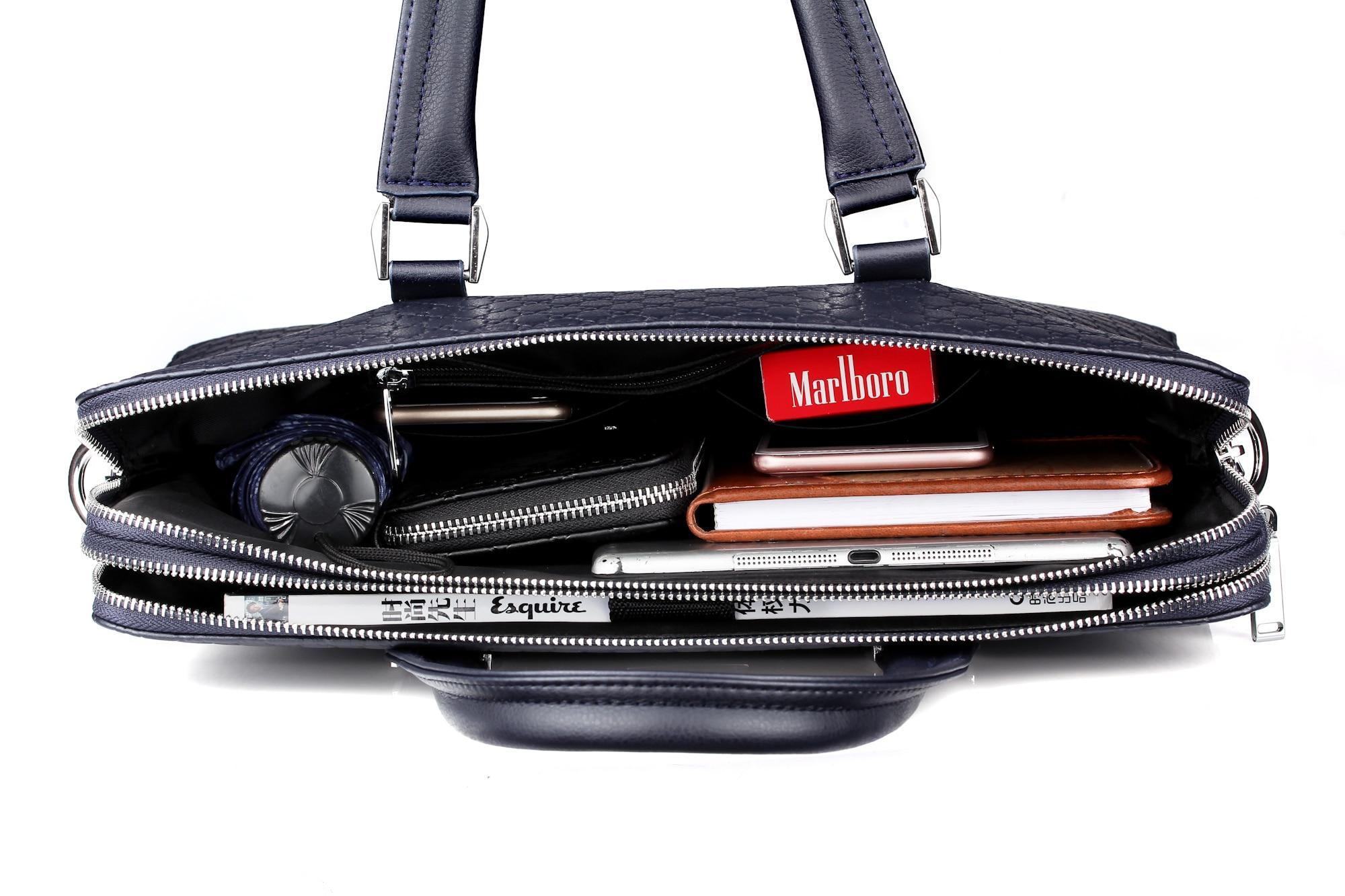 HTB1EDPpbqSs3KVjSZPiq6AsiVXaW Double Layers Men's Microfiber Synthetic Leather Business Briefcase Casual Shoulder Bag Messenger Bag Laptop Handbag Travel Bag