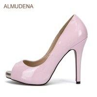 Альмудена молодых Обувь для девочек сладкий розовый Pearlscent туфли-лодочки из лакированной кожи открытый носок стилет Каблучки Туфли под плат...