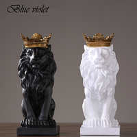 2018 New Creative Modern Gold Crown Black lion Statue Aanimal Figurine Sculpture For Home Decorations Attic Ornaments Gifts 2