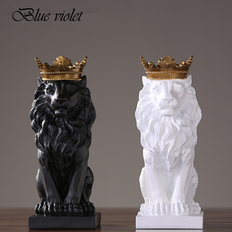 2019 New Creative Modern Golden Crown Black lion Statue Animal 