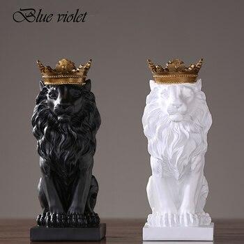 2019 Nova Criativo Moderno Coroa Dourada Preto leão Estátua Animal Estatueta Escultura Para Casa Decorações Ornamentos Presentes 2 Sótão